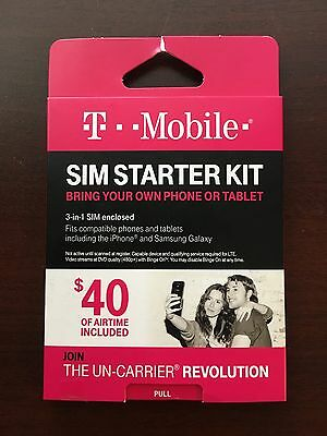 T-Mobile Complete SIM STARTER KIT + $40 Airtime | nano micro standard sim card