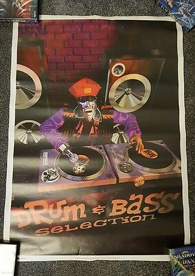Large DRUM AND BASS POSTER SUBURBAN BASE RECORDS 90S POSTER RAVE DNB