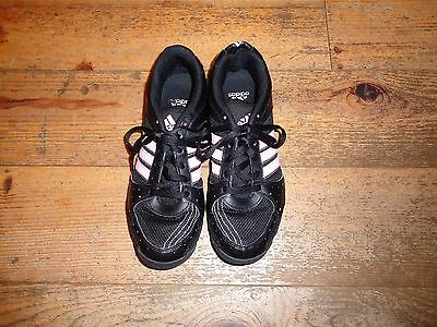 Ladies Black & Pink Leather & Textile Adidas Trainers Size 5