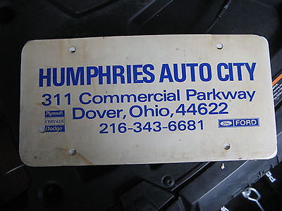 Humphries Plymouth Chrysler Dodge Ford Dover Ohio Booster Dealer License Plate