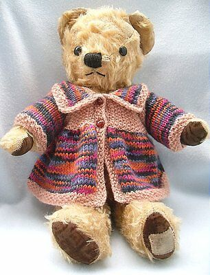 """Bear Wear Hand Knitted Vintage Style Jacket For Approx.12""""/14"""" Bear"""