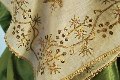 Antique Ottoman Finely Embroidered Fichu Or Shawl Metallic Polychrome On Muslin