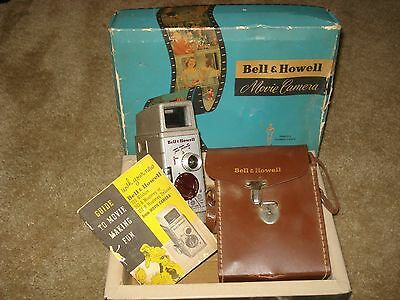 Vintage 1950's Bell & Howell Two Twenty 8mm Movie Camera, Case, Box, Manual
