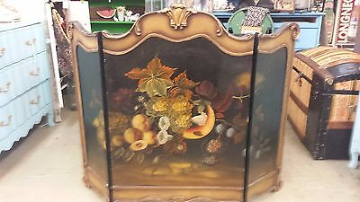 VINTAGE  Hand Painted WOOD FIREPLACE 3 PANEL SCREEN Hearth Cover ~Fruit & Nuts