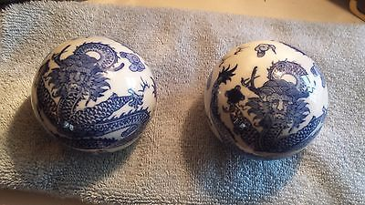 Unique Pair of Chinese Dragon Head  Blue/White Porcelain Balls  Lot #175