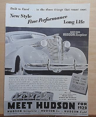 1937 magazine ad for Hudson -1938 Terraplane Built to Excel in style performance
