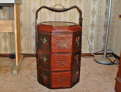 3-Tier Chinese Bamboo Wedding Basket Reverse Painted Glass Dragon Brass Handle