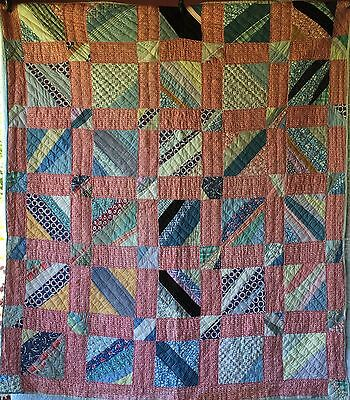 Antique Vintage Strip Quilt Pretty Fabrics Feedback Back with Company Logo Stamp