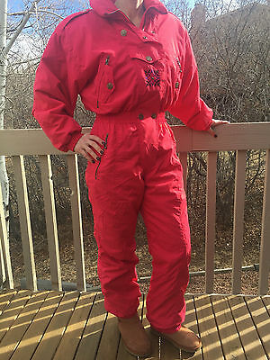 SKIING PASSPORT Womens One Piece Ski Snow SUIT RED s10 Insulated Embroidered