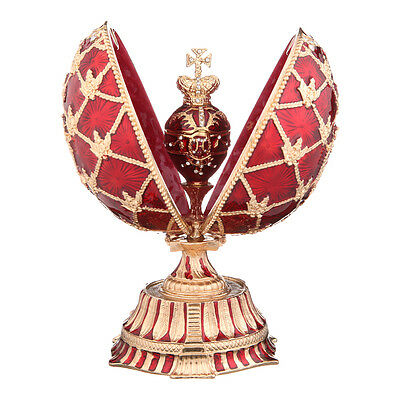 Decorative Faberge Egg Russian Coat of Arms Emperor Crown & Clock 5.9'' 15cm red
