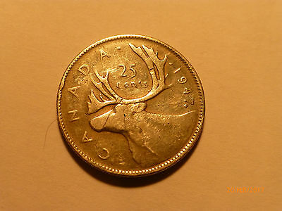 Rare.  Canada. 1947 King George Vi 25 Cents Silver. Dot After 7 Very Rare.