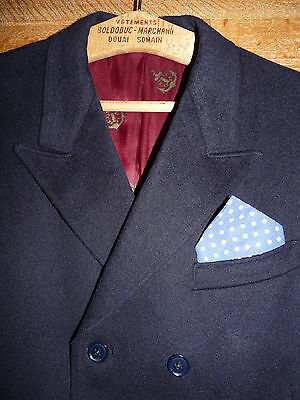 "AUTHENTIC 1960s HARRY FENTON MOD DOUBLE BREASTED MOLESKIN NAVY JACKET, 40"" M"