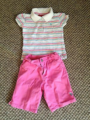 Girls Toddler 4T Us Polo Assn Set Outfit Shirt Top Capri Pants Pink Infant Baby
