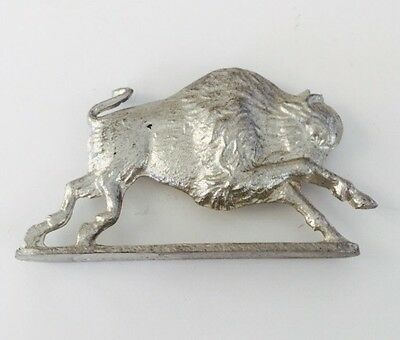 Greenfield Village Signed Pewter American Buffalo Figurine on Stand