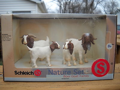 Brand New Sealed Box Schleich Farm Boer Goat Family Hand Painted Nature Set