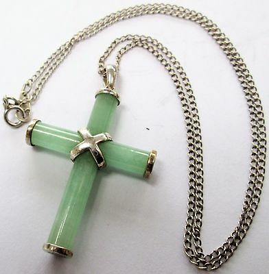 Fine quality large vintage sterling silver & jade cross pendant + sterling chain