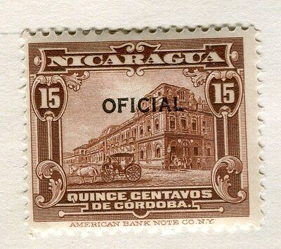 NICARAGUA;  1926 early OFFICIAL Optd. issue fine Mint hinged 15c. value