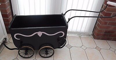 Antique Vintage Coach Built Dolls Pram - 1930's Art Deco?