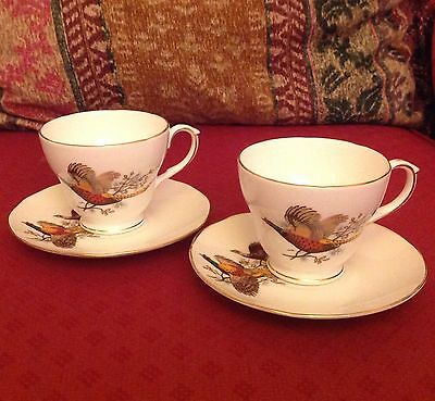 VINTAGE DUCHESS Bone China TWO Cup Saucer Duos Pheasant Gold Country Pursuits