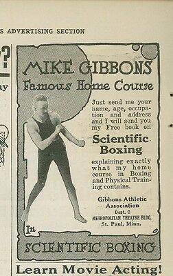 1921 Scientific Boxing Training Ad Mike Gibbons Boxer St. Paul Minnesota