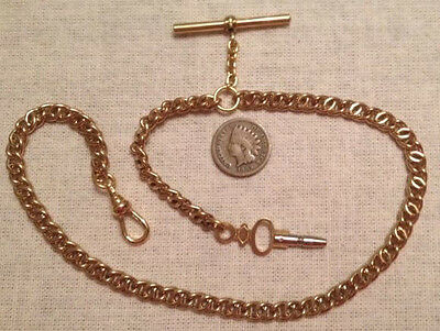 Victorian / Civil War Reenactor Brass Pocket Watch Chain w/ Key Fob