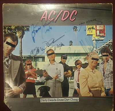 AC/DC Dirty Deeds Album Sleeve 5 Signed Angus Malcolm Brian Phil Cliff autograph
