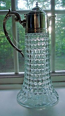 Large Vintage Crystal And Silver Plate Wine Decanter Circa 1930's