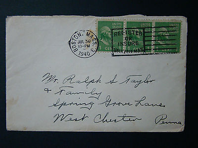 Us Cover 1938 Series- 1 Cent Prexies -1940 Boston Mass Cds With Slogan Cancel