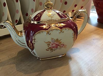Stunning Sadler Burgundy/gold Floral Cube Teapot In Lovely Condition