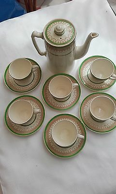 Burleigh ware - coffee pot and 6 cups & saucers- gold, cream & green