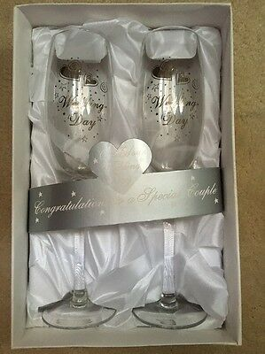 Wedding Day Gift Boxed Champagne Flutes Wine Glasses Glasswear Pair Couple Bride