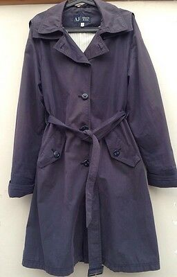 Ladies Armani Navy Trench Coat With Hood. Size 14