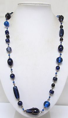 Stunning long vintage Arts & Crafts large sapphire glass bead necklace + 1