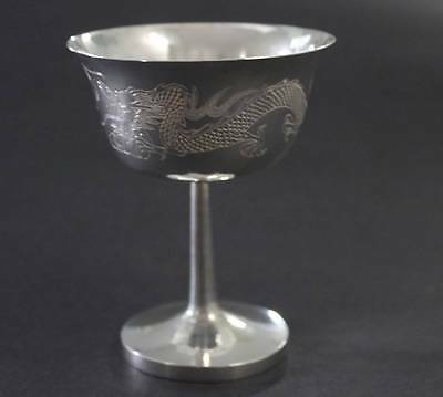 Antique Chinese Export Silver Goblet Dragon & Pearl Hand Engraved