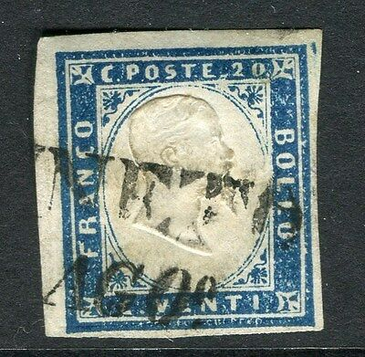 ITALY;  SARDINIA 1855 early classic Imperf issue 20c. fine used value, postmark
