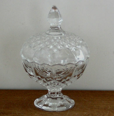 """Vintage ~ Glass Crystal ~ 6.5"""" Compote w/Cover Lid  Candy Jar ~ Excellent"""