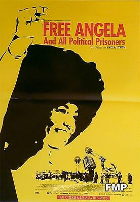 Free Angela And All Political Prisoners - A. Davis / Lynch - Small Yellow Poster