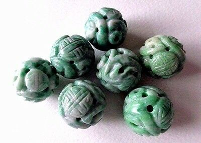 7 Antique Chinese Apple Green Carved Jade Shou 18mm Necklace Beads 55.1g RARE