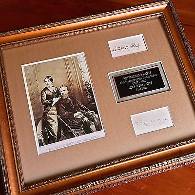 President RUTHERFORD B. HAYES and LUCY WEBB HAYES Autograph Duo Signed