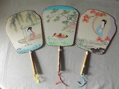 VINTAGE LOT OF THREE HAND PAINTED SILK FANS from CHINA