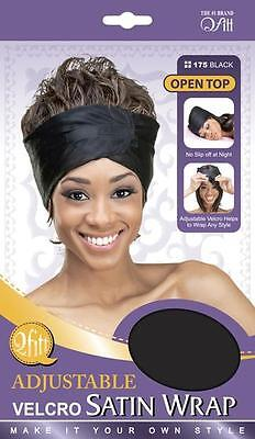 Qfitt Adjustable Satin Wrap Hair Wigs Style No Slip Night Caps Style #175 Black