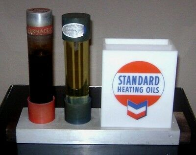 STANDARD HEATING OILS DISPLAY -- Chevron oil Sample holder -- not can sign