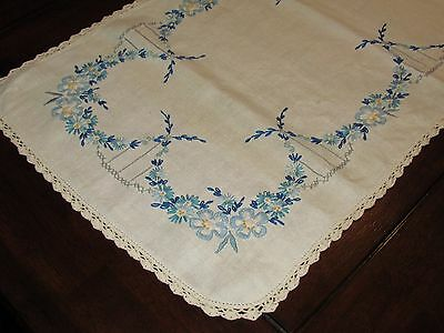 Vtg Antique Linen Embroidery Cross Stitch Table Runner Scarf Art Deco Floral 43""