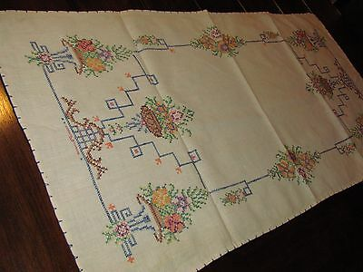 Vtg Antique Linen Embroidery Cross Stitch Table Runner Scarf Art Deco Floral 31""
