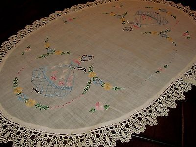 "25"" Vtg Antique Linen Embroidery Cross Stitch Table Scarf Victorian Lace Crochet"