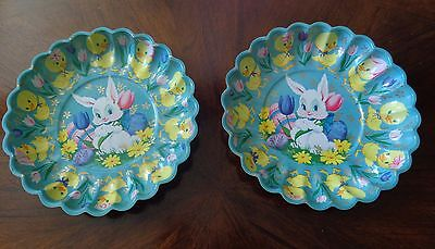 Lot 2 Vintage Plastic Scalloped Easter Party Bowls Bunny Chicks Egss Tulips