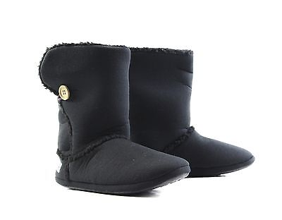 Womens HOODIES SHERPA BUTTON BOOTS Black Grosby Warm Slippers - Size S M L XL