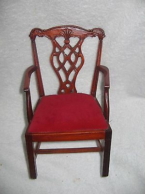 "Victorian Wood & Velvet Chippendale  Arm  Chair  Fits 16""  Doll"