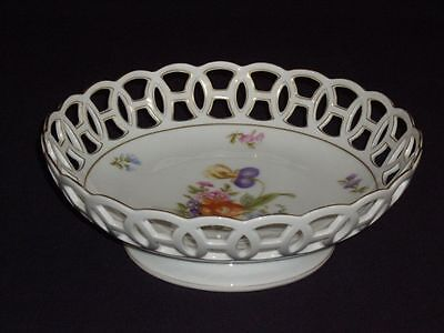 Antique c1890s  Rosenthal Porcelain Reticulated Bowl Cabinet Display Centerpiece