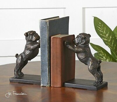 Bulldog Bookends Bronze Finish Cast Iron Book Ends Winston Pug Dog ~ Set Of 2
